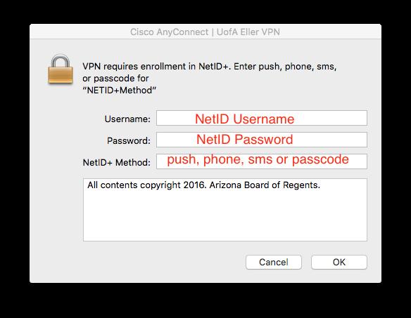 Use Username - NetID Username, Password - NetID Password, NetID+ Method - push, phone, sms or passcode